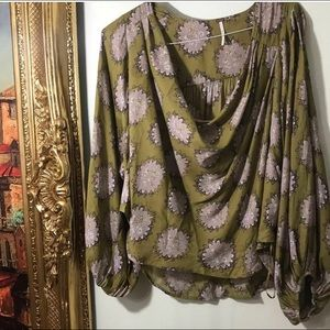 Free People Art Nouveau Green And Pink Blouse